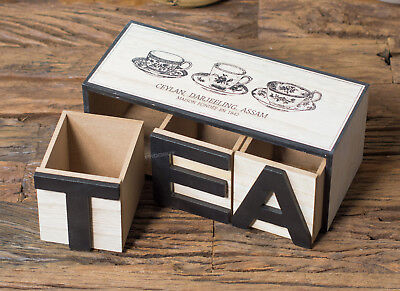 Wooden Tea Bag Storage Box 26cm 3 Compartment Caddy MDF Vintage Container Chest