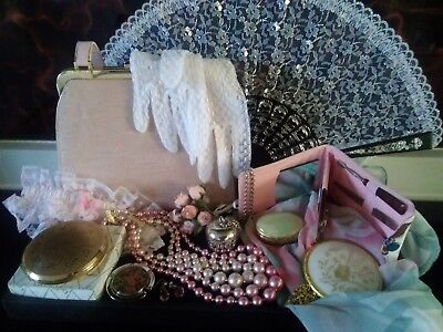 Vintage Ladies Lot: Carvela Handbag Stratton Compact Charlie Perfume Apple Fan..