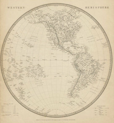 WESTERN HEMISPHERE. Americas. Mexican Texas. Pacific New Zealand. SDUK 1844 map