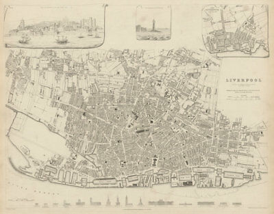 LIVERPOOL antique town city map.Inset view & plan in 1729. Buildings SDUK 1844