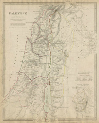 PALESTINE in the time of Our Saviour Jesus; Ancient Jerusalem. SDUK 1844 map