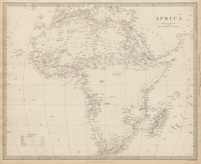 AFRICA map pre-dating much exploration. Mountains of Kong.Population SDUK 1844
