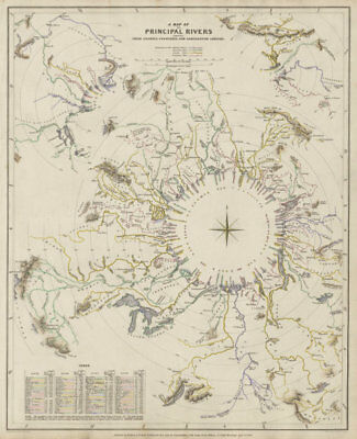 WORLD RIVERS. Comparative lengths of principal rivers. Countries SDUK 1844 map