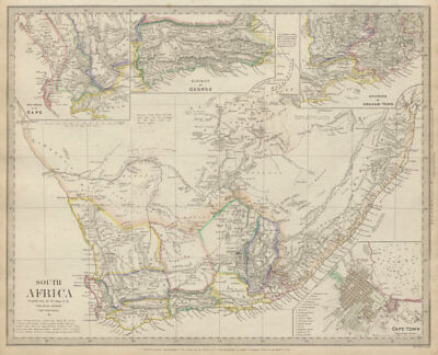SOUTH AFRICA. Cape Town plan. District of George. Graham Town. SDUK 1844 map
