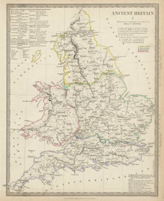 ANCIENT BRITAIN. England & Wales Roman road town names. Ptolemy SDUK 1844 map
