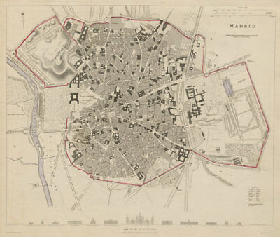 MADRID antique town city map plan. Original outline colour. Spain. SDUK 1844