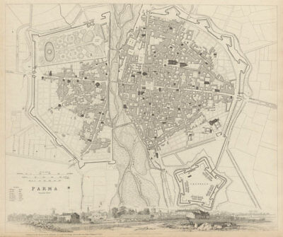 PARMA antique town city map plan & panorama. Parme. Fortifications. SDUK 1844