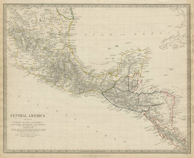 SOUTHERN MEXICO & CENTRAL AMERICA. Yucatan Belize Mosquito Coast SDUK 1844 map