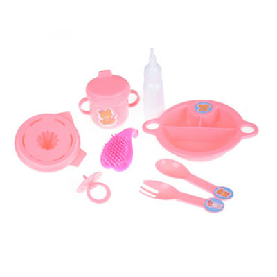 8pcs/set Cup Comb Fork Spoon Bowl Feeding Tableware For 43cm Baby Doll M&E