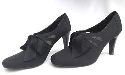 fb99c3e74a52 ANN MARINO Black Herringbone Fabric Mary Jane Heels Pumps Bow 11 Steampunk  Shoes