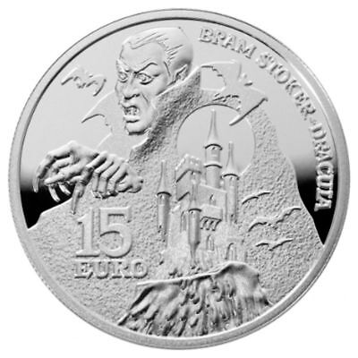 2018 Ireland € 15 Euro Silver Proof Coin Abraham Bram Stoker's Dracula