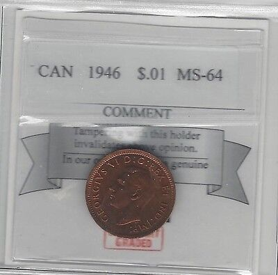 **1946**,Coin Mart Graded, Canadian, Small One Cent, **MS-64**