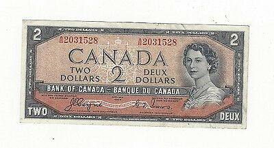 **1954**Canada $2 Note, Coyne/Towers # AB 2031528  BC-30a  Devil's Face