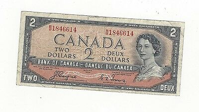 **1954**Canada $2 Note, Coyne/Towers # BB 1846614  BC-30a  Devil's Face