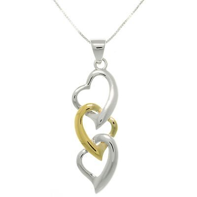 Sterling Silver and Gold-plated Three Heart Necklace