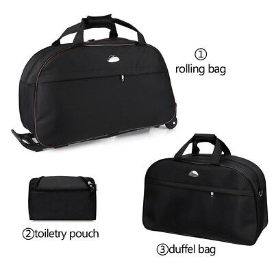 """Set of 3Pcs 24"""" Rolling Wheel Duffel Luggage Bag Tote Carry On Travel Suitcase"""