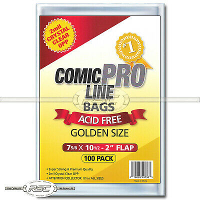 "100 - Comic Pro Line Golden 2-Mil Clear OPP Bags - 7-5/8"" x 10-1/2"" + 2"" Flap!"