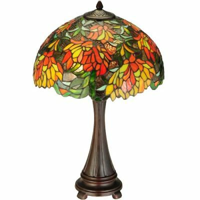 """Meyda Tiffany 138122 Lamella 2-Light 25""""T Hand-Crafted Stained Glass Table Lamp"""