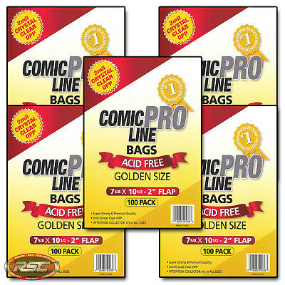 "500 - Comic Pro Line GOLDEN 2-Mil Clear OPP Bags - 7-5/8"" x 10-1/2"" + 2"" Flap!"