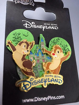 Hong Kong HKDL   Disneyland Castle Series Pin   Chip & Dale   NEW