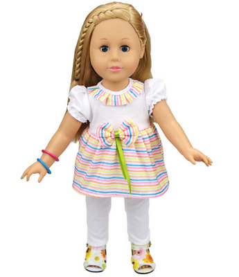 Fit For 18'' American Girl Set Striped T-shirt White Long Pants New Doll Clothes