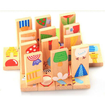 28pcs/Set Wooden Zoo Animals Jigsaw Puzzle Childrens Learning Educational Toy