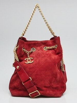 607475609f2c CHANEL RED QUILTED Suede On My Shoulder Small Drawstring Bag ...