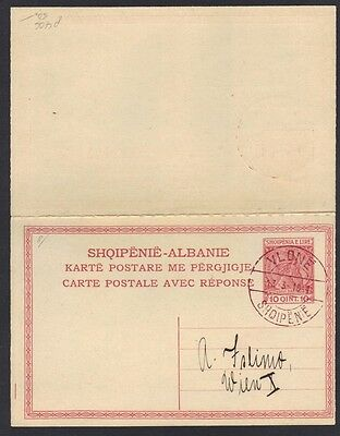 """Albania 1918 10 Qint Postal Card With First Dam Cancel At """"vlone"""""""