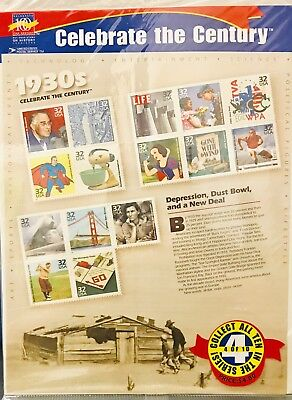 US Stamp Sheet Celebrate The Century 1930s 32 Cent Face Value $4.80