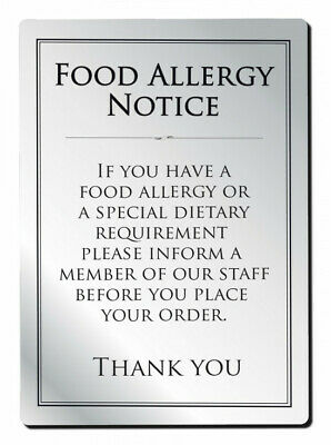 Food Allergy Sign Notice A4 297 x 210mm Silver Brushed Bar Restaurant Catering