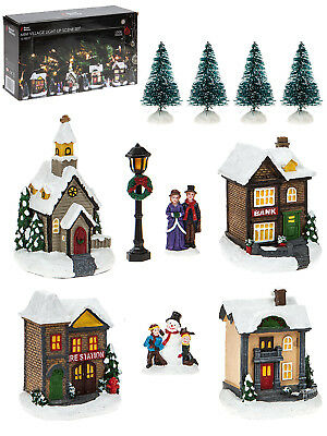 25pc LED Mini Winter Village House Snow Set Scene Decoration Christmas Ornament