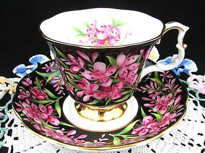 Royal Albert Fireweed Provincial Flowers Pink Black Tea Cup And Saucer