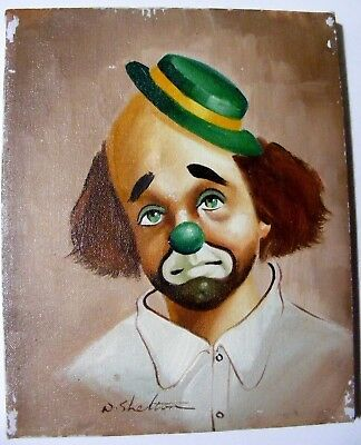 vintage 1970's oil on canvas painting, circus clown, W.Shelton signed, 8x10