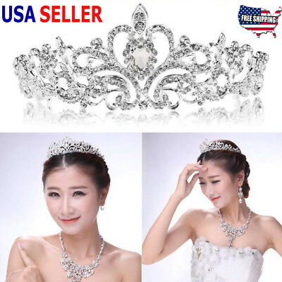 Fashion Bridal Princess Austrian Crystal Tiara Wedding Crown Veil Hair Accessory