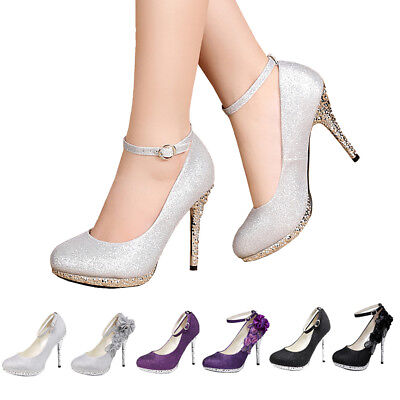 f13171841954 Women Glitter Lace Flower With Ankle Straps Wedding Bride Shoes High Heels