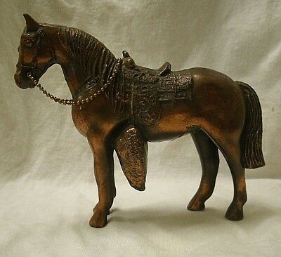 vintage Cast Metal Western Horse Figurine copper color saddle animal chain reins