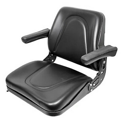 Universal Tractor Seat w/ Rails & Flip Arm Rests for Case IH Ford NH John Deere