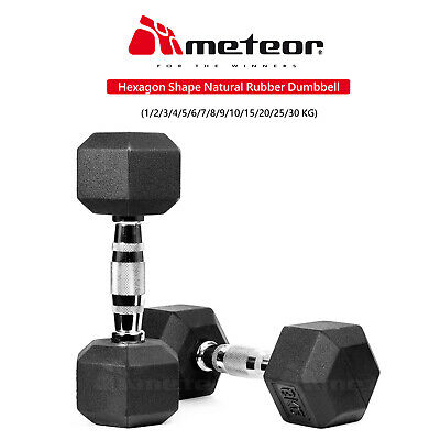 METEOR 1-30kg Rubber Hex Dumbbell Fitness Gym Strength Weight Training Exercise