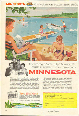 1958 Vintage ad for Minnesota Art Tourism Vacations Boat Retro  (090317)