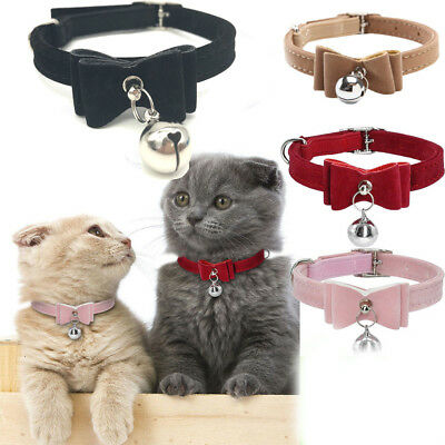 6 Colors Lovely Puppy Kitten Dog Cat Pet Bow Tie With Bell Necktie Collar Chian