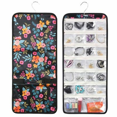 Practical Marion Floral Print Jewerly Organizer Storage Hanging Carry Travel Bag