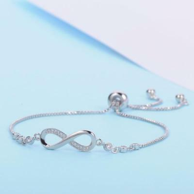 UK Adjustable Silver Infinity Friendship Bridesmaid Bracelet Cubic GIFT BAG NEW