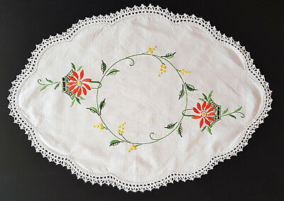 Vintage Hand Embroidered & Crochet Edging Table Centre Piece (Doiley)