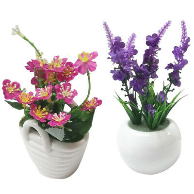 Fake Artificial Flower Ceramic Pots Garden Office Home Decors Flowers Bonsai