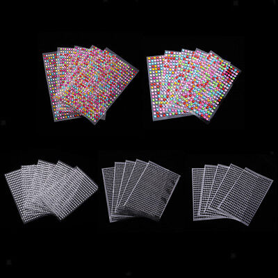 5 Sheets Gem Crystal Diamonds Rhinestone Stickers Phone Car Adhesive Crafts