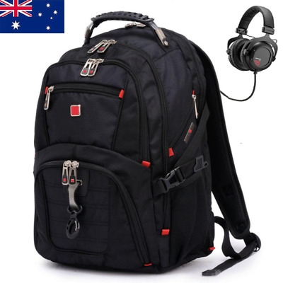 "AU Mens Black Backpack Rucksack Notebook Hiking Travel 15.6"" Laptop School Bag"