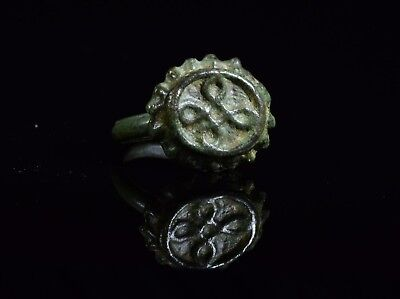 Medieval Tudor Era Bronze Ring With Decorated Crown Shaped Bezel - T76