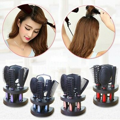 5pcs Women Hair Brush Comb Sets Ladies Massage Holder Set With Mirror & Stand