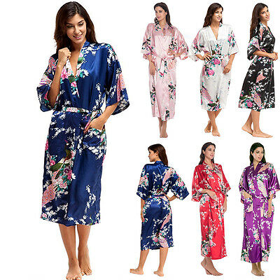 FLORAL SATIN ROBE Kimono Women Night Dressing Gown Long Wedding Bride Bridesmaid