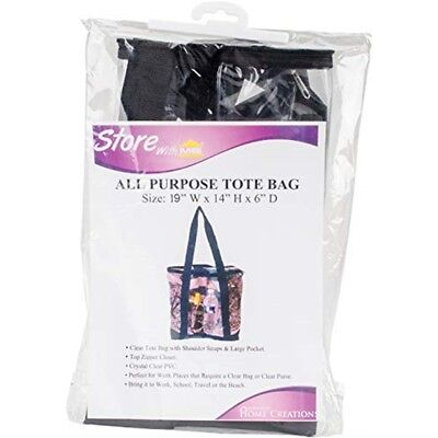 """Innovative Home Creations All-purpose Clear Tote Bag-black 19""""x14""""x6"""""""